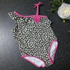 Little Me Leopard Print One Piece Swimsuit 24 M